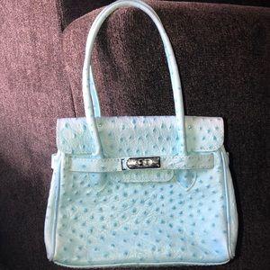 Handbags - Cute blue croc embossed Hermès like purse
